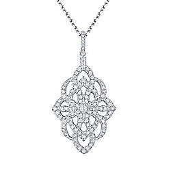 "Gems of Distinction™ 14K White Gold 0.50ctw Diamond Filigree Pendant w/ 18"" Chain"