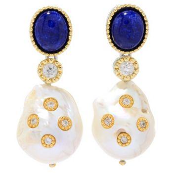 LUSTRE 169-765 Dallas Prince Sterling Silver 1.75 20 x 14mm Cultured Pearl & Gemstone Drop Earrings - 169-765