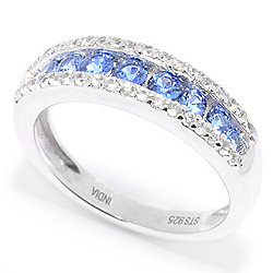 Gem Treasures® Sterling Silver Ceylon Blue & White Sapphire Channel Band Ring