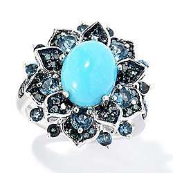 Gem Treasures® Sterling Silver Sleeping Beauty Turquoise & Multi Gem Ring
