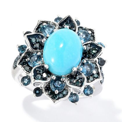 170-137 Gem Treasures® Sterling Silver Sleeping Beauty Turquoise & Multi Gem Ring