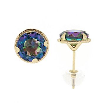 Gemstone Sale - Up To 40% Off - 170-818 Belle Artique 14K Yellow Gold 7mm Round Quartz Stud Earrings - 170-818