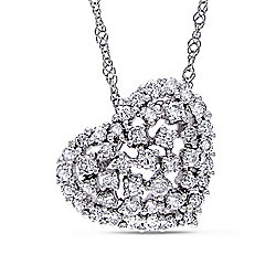 "Julianna B 14K White Gold 0.50ctw Diamond Tilted Openwork Heart Shape Pendant w/ 18"" Chain"