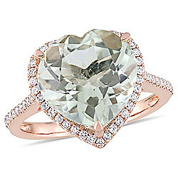 Julianna B 14K Rose Gold 4.88ctw Prasiolite & Diamond Halo Heart Shape Ring