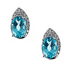 Fierra™ 14K White Gold 1.92ctw Apatite & Diamond Stud Earrings