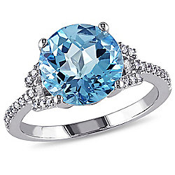 Julianna B 14K White Gold 4.72ctw Round Checkerboard Cut Swiss Blue Topaz & Diamond Ring