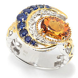 Gems en Vogue 2.39ctw Royal Blue Sapphire & Citrine Crescent Moon Ring