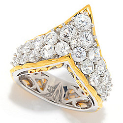 Gems en Vogue 3.62ctw White Zircon 2-Row Chevron Band Ring