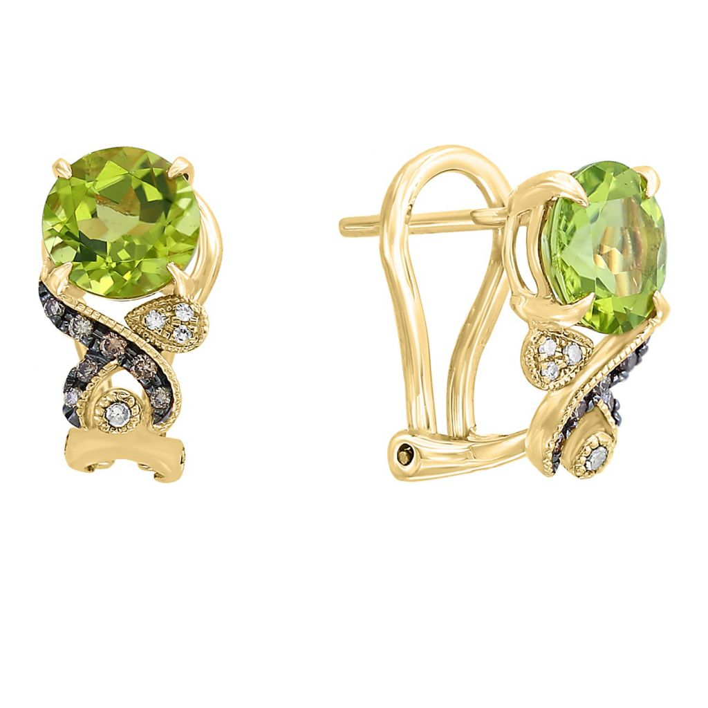 Lime Green Rounded Diamond Earrings