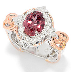 Gems en Vogue 3.28ctw Rose & White Zircon Halo Ring
