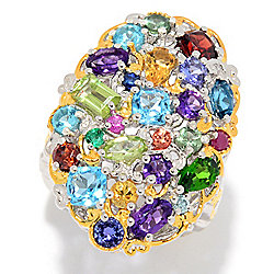 "Gems en Vogue Final Cut ""Carnaval"" 3.98ctw Multi Gemstone Cluster Ring"