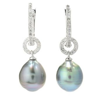 173-486 Kwan Collections Sterling Silver 1 Tahitian Cultured Pearl & Gemstone Drop Earrings - 173-486