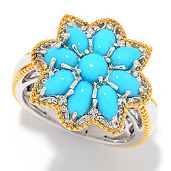 Gems en Vogue Multi Shape Sleeping Beauty Turquoise Cluster Flower Ring