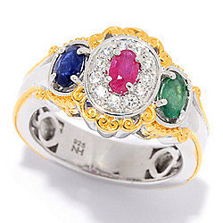 Gems en Vogue 1.13ctw Multi Multi Gemstone & White Zircon 3-Stone Ring