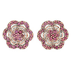Gems en Vogue 3.38ctw Rose Garnet Flower Stud Earrings w/ Omega Backs