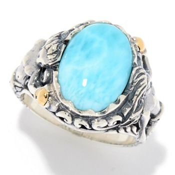 Sterling Silver Ft. Artisan Silver By Samuel B. - 174-746 Artisan Silver by Samuel B. 18K Gold Accented 14 x 10mm Larimar Sea Creature Ring - 174-746