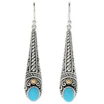 Silver Earring Gifts One Size Fits All - 174-796 Artisan Silver by Samuel B. 1.25 Sleeping Beauty Turquoise Drop Earrings - 174-796