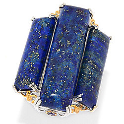Gems en Vogue 35 x 10mm Rectangular Lapis & African Amethyst 3-Stone Ring