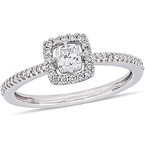 Julianna B 14k White Gold 0 48ctw Cushion Cut Diamond Floating Halo Engagement Ring Shophq