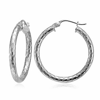 Italian Earrings From Your Favorite Brands 176-026 Italian Sterling Silver High Polished Textured Hoop Earrings - 176-026