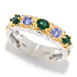 Gems en Vogue Zambian Emerald & Tanzanite 5-Gem Band Ring