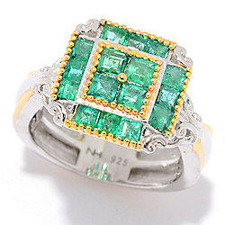 Gems en Vogue 1.16ctw Zambian Emerald Square Shaped Cluster Ring