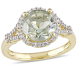 Julianna B 14K Gold 3.00ctw Prasiolite & Diamond Halo Split Shank Ring