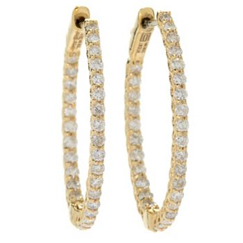 Diamond Essentials - 177-419 Gems of Distinction™ 14K Gold Choice of Carat Diamond Hinged Oval Hoop Earrings - 177-419