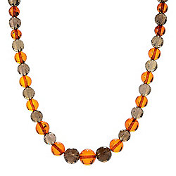 "Gem Insider® Sterling Silver 18"" 5-10mm Smoky Quartz & Amber Necklace"
