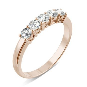 178-490 Moissanite by Charles & Colvard 14K Gold 0.50 DEW 5-Stone Stackable Band Ring - 178-490