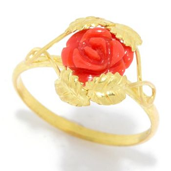 Gold Sale Up To 45% Off - 178-566 Viale18K® Italian Gold Carved Red Coral Flower Ring - 178-566