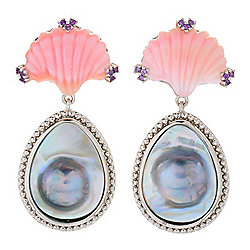 "Dallas Prince Sterling Silver 2"" Cultured Pearl & Pink Conch Shell Drop Earrings"