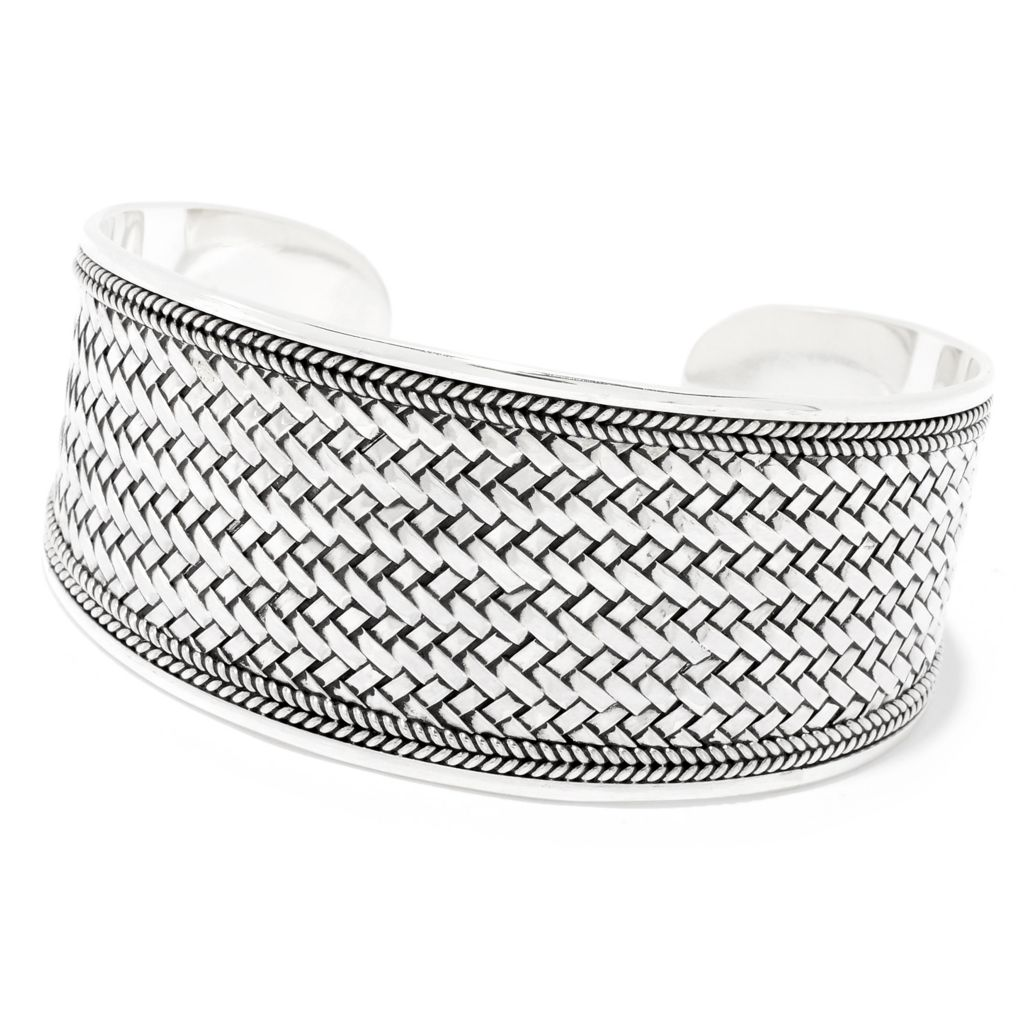 6 to 6 12 Woven Handmade Sterling Silver Cuff for Small Wrist 40.24 Grams Wide Woven Bold Artisan Crafted Sterling Silver Cuff Bracelet