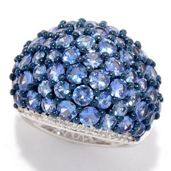 Gem Treasures® 5.19ctw Ceylon Blue Sapphire & White Zircon Dome Ring - 179-324
