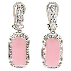"Gem Treasures® 1"" 14 x 7mm Cushion Shaped Pink Opal & White Zircon Earrings"