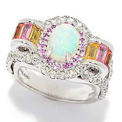 Victoria Wieck Collection Sterling Silver Ethiopian Opal & Multi Gem Ring