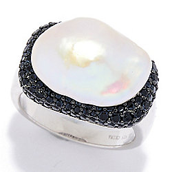 Kwan Collections Sterling Silver 12-13mm Freshwater Cultured Pearl & Black Spinel Ring