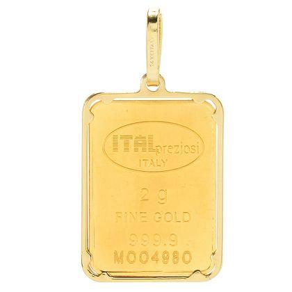 Italian Gold - 180-021 Stefano Oro 24K Gold Choice of Weight Ingot w 14K Gold Frame Pendant
