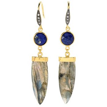 GemHQ Ft. Healing Stones - 180-273 Hilary Joy Couture 2.5 Gemstone & White Zircon Drop Earrings - 180-273