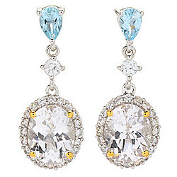 "Gem Insider® 1"" 5.72ctw Danburite, Aquamarine & White Zircon Drop Earrings"