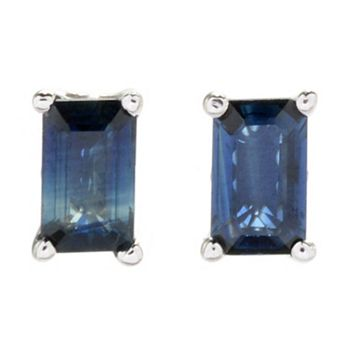 Stud Earrings Under $100 One Size Fits All - 180-809 Gems en Vogue Sterling Silver Choice of Shape Sapphire Stud Earrings - 180-809