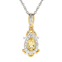 Gems en Vogue Final Cut 1.65ctw Golden Beryl & White Zircon Pendant