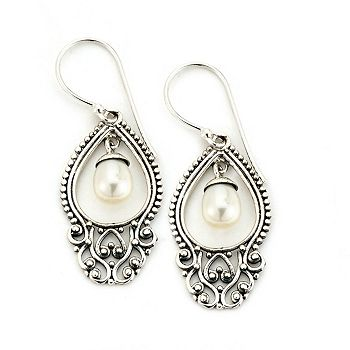 Web Exclusive Pearls Deals You Won't See on TV 180-938 Artisan Silver by Samuel B. 1.5 Freshwater Cultured Pearl Balinese Design Drop Earrings - 180-938