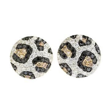 EFFY Luxurious Gemstone Styles - 181-002 EFFY Confetti 14K Gold 0.93ctw Black, White & Mocha Diamond Stud Earrings - 181-002