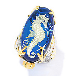 Gems en Vogue 30 x 15mm Carved Blue Amber & Multi Gemstone Seahorse Ring