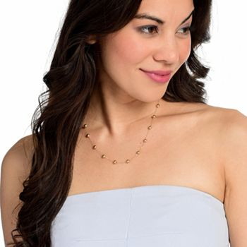 181-093 Viale18K® Italian Gold Choice of Lenth Tubing Polished Bead Station Necklace - 181-093