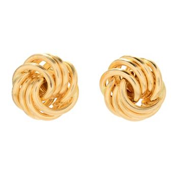 Viale18K® Italian Gold - 181-098 Viale18K® Italian Gold Tubing Rosetta Textured Link Stud Earrings, 1.4 grams - 181-098