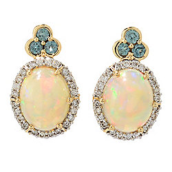 Gem Insider® 14K Gold Ethiopian Opal, Alexandrite & Diamond Earrings