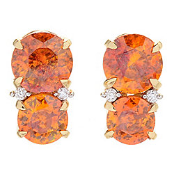 Gem Insider® 14K Gold 2.97ctw Sphalerite & Diamond Stud Earrings