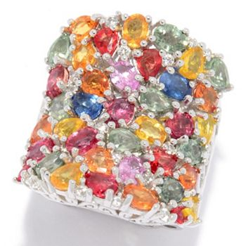 VIVID Collection 181-584 Dallas Prince Sterling Silver 7.82ctw Multi Color Sapphire & White Zircon Ring - 181-584